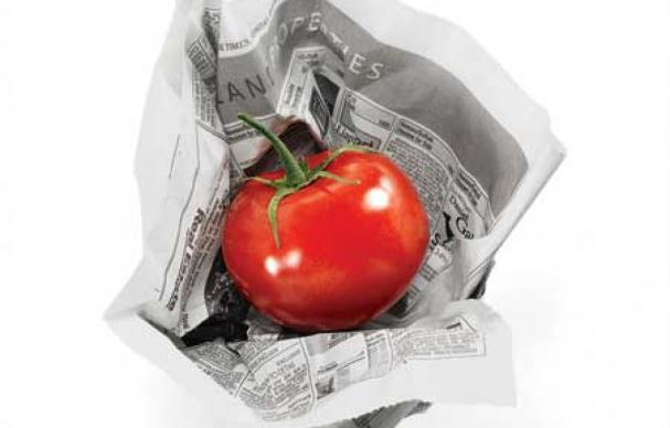 vegetables in newspapers