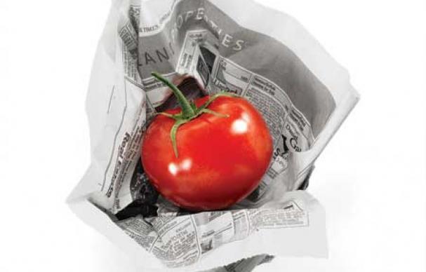 vegetables in newspapers